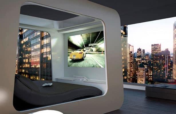 Futuristická spálňa - futuristický štýl