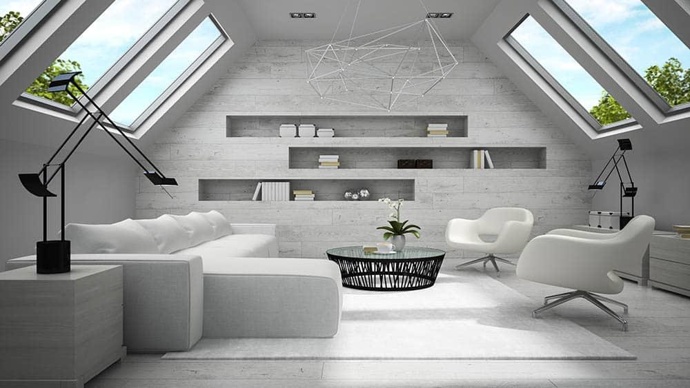 Moderné zariadenie podkrovie - viac svetla v podkroví