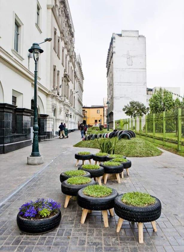 Záhradné sedenie z pneumatík