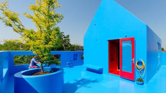 Modrý dom Didden Village v Rotterdame