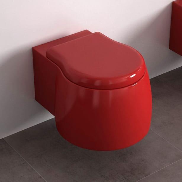 Červené závesné WC