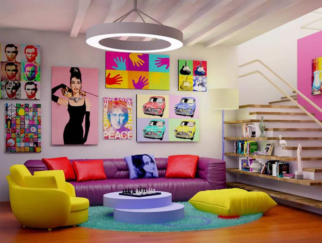 Obývačka zariadená v pop-art štýle