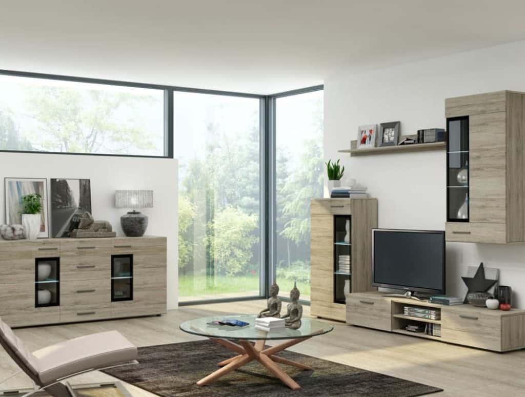 Moderná obývacia stena? To je niekoľko skriniek, komôd a zasklených vitrín
