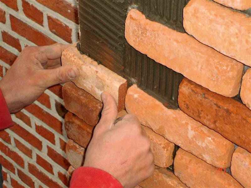 Installation of brick slips