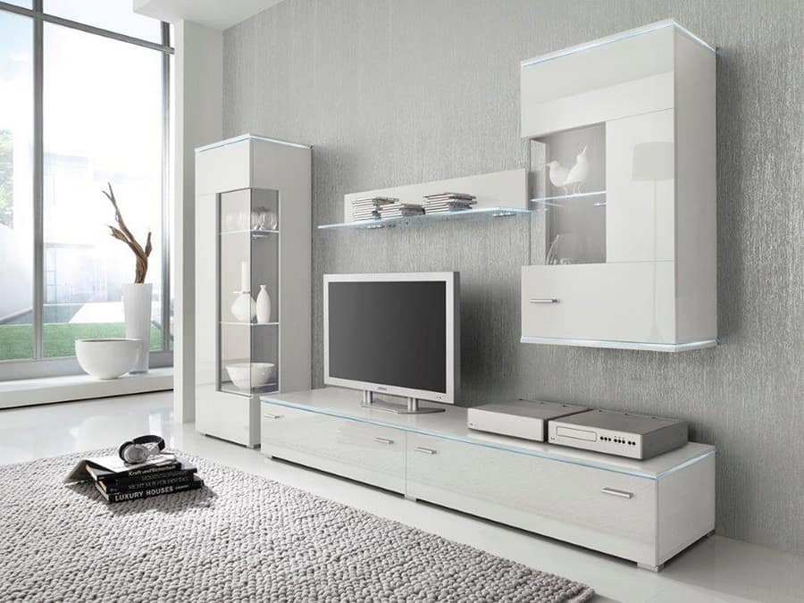 biele obývacie steny