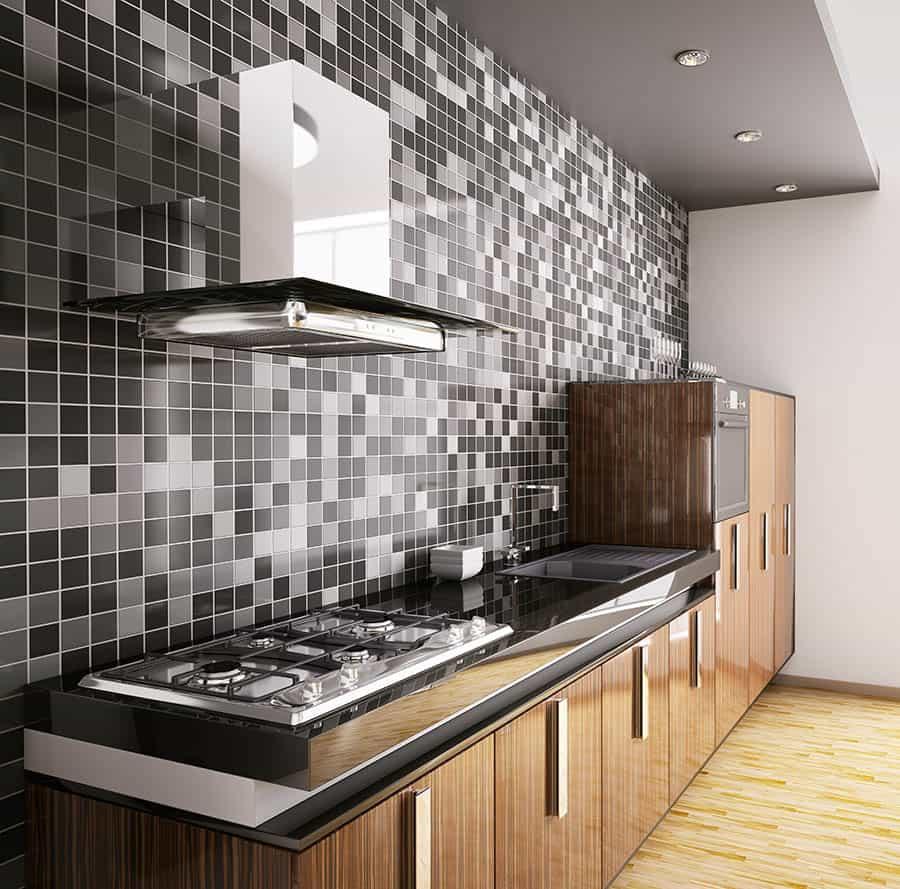 Kuchyňa so sklenenou mozaikou