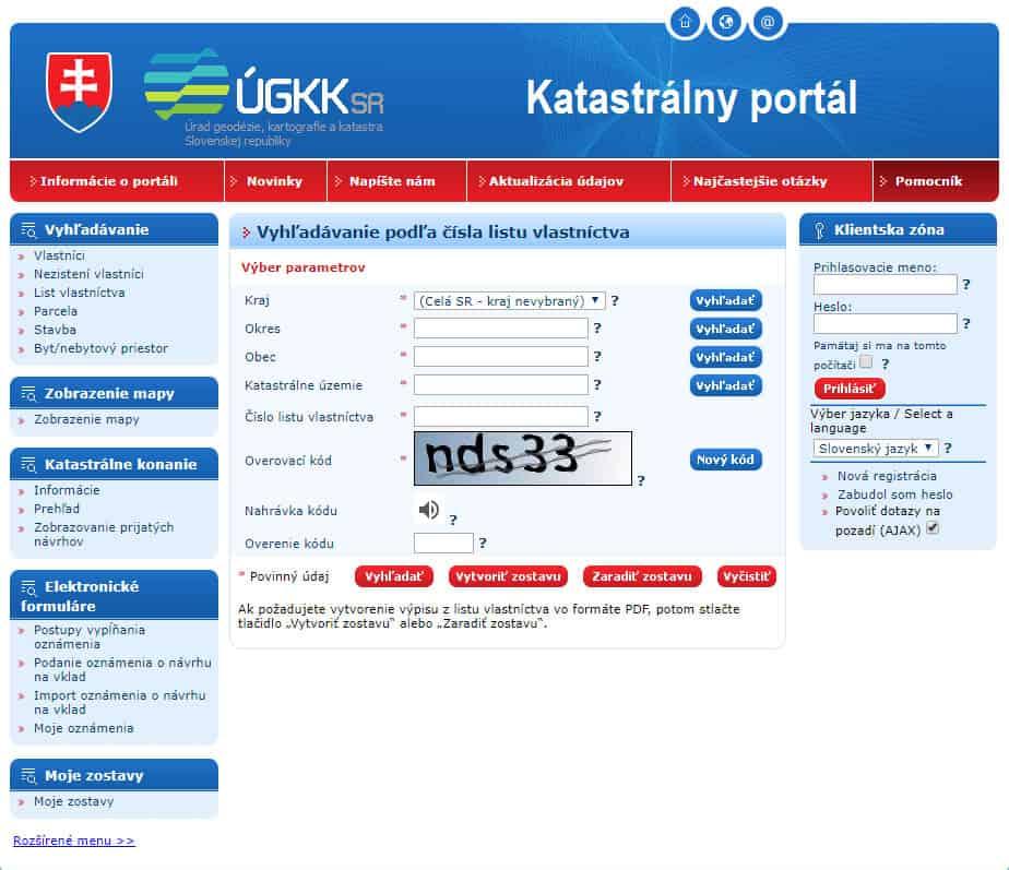 List vlastníctva - Katastrálny portál